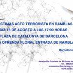 Convocatoria al homenaje a las victimas del terrorismo en las Ramblas y Cambrils