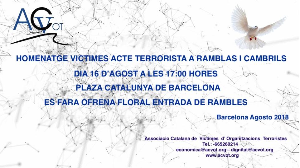 Convocatòria a l'homenatge a les víctimes del terrorisme a les Rambles i Cambrils